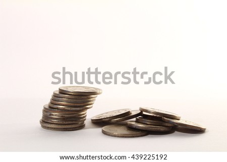 Russian coin stacks on a white background