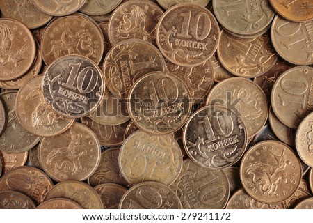 Russian coins background ten kopeks - stock photo
