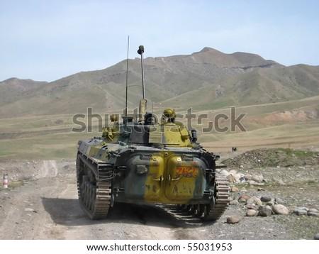 Russian combat vehicles in Tajikistan - stock photo