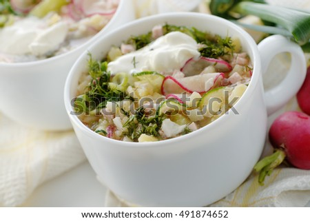 Russian cuisine. Two bowls of okroshka.