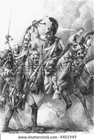 Russian curassiers attack  French Old Guards Grenadiers. - stock photo