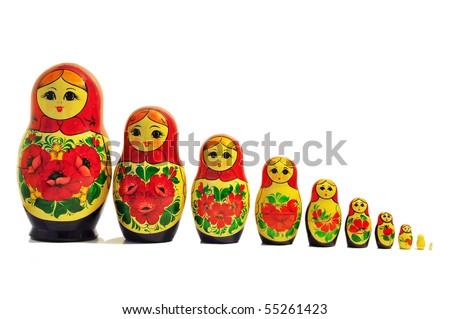 russian doll babushka single row - stock photo