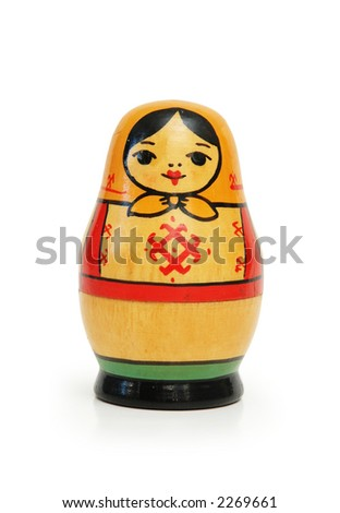 "Russian doll ""matreshka"" isolated on white background"