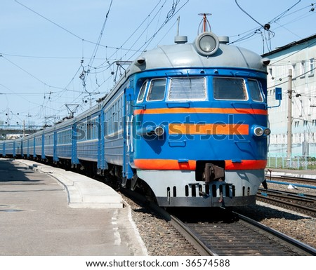 Russian electric train at station