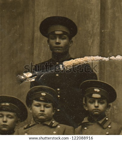 RUSSIAN EMPIRE - CIRCA 1880: Vintage photo of a group schoolboys Odessa gymnasium, circa 1880. - stock photo