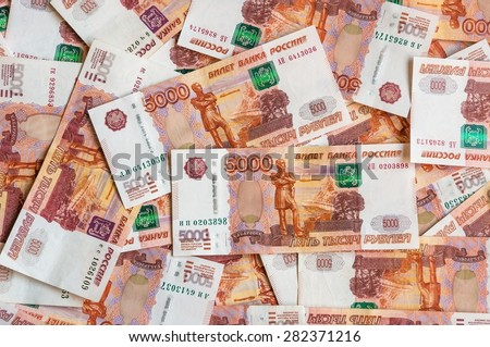 Russian five thousand money background, russian currency banknotes