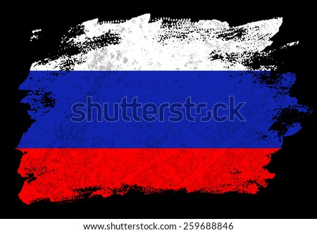 Russian flag on black background - stock photo