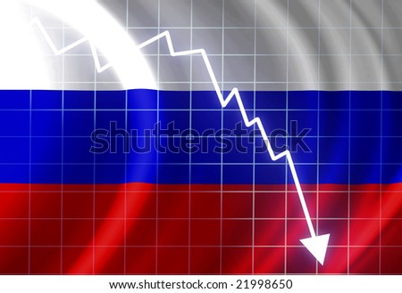 Russian flag waving in the wind: crisis