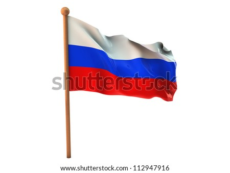 Russian flag waving on white background. 3D image - stock photo