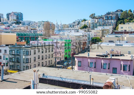 Russian Hill neighborhood, San Francisco - a view from a rooftop - stock photo