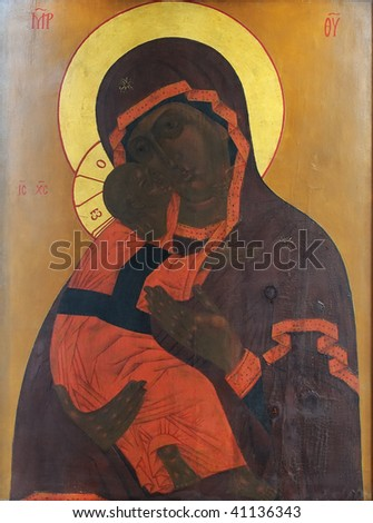 Russian icon of Madonna Mother of God (Mary) and child (Jesus Christ) - stock photo