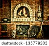 Russian interior kitchen with an oven and a burning fire, covered with texture - stock photo