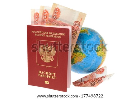 Russian International passport with money, globe and origami plane made from money isolated on white background - stock photo
