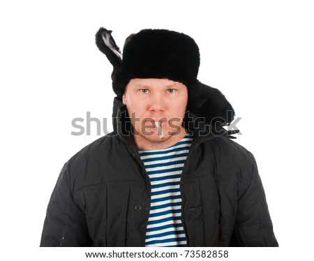 Russian man in winter fur cap  ,red-neck.isolated on white background - stock photo
