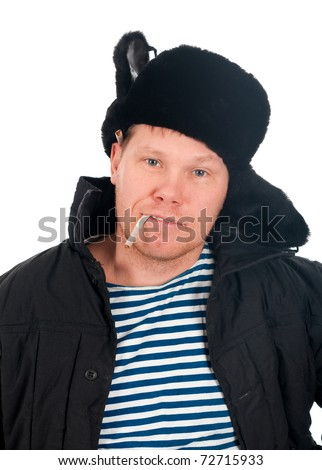 Russian man in winter fur cap  ,redneck.isolated on white background - stock photo