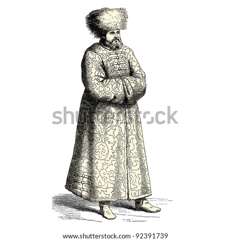 "Russian man - vintage engraved illustration - ""Costumes anciens et modernes "" by Cesare Veccello ed.Firmin-Didot  in 1859 - Paris - stock photo"