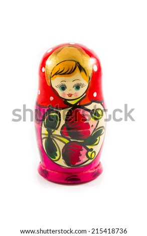 Russian matryoshka fully assembled hand-painted on a white background - stock photo