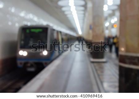 Russian Metro (Subway) (Platform) blur - stock photo