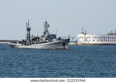 Russian military ship at sea - stock photo