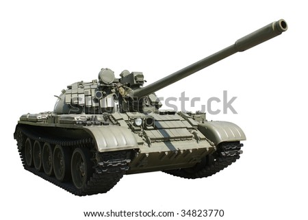 Russian military tank isolated - stock photo