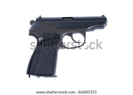 Russian 4.5mm pneumatic  handgun isolated on white