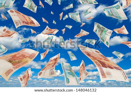 Russian money flying in the sky. - stock photo
