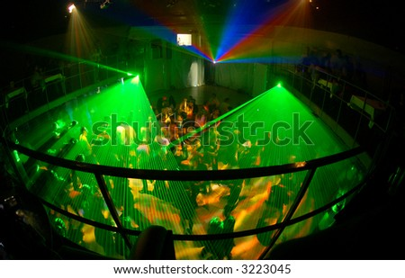 Russian night clud with green light system - stock photo