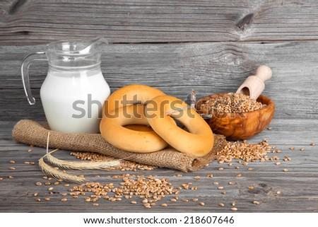 Russian or Ukrainian donut (Bublik) on wooden background - stock photo