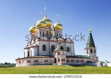 Russian orthodox church. Iversky monastery in Valdai, Russia. - stock photo