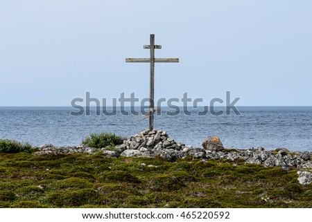 Russian Orthodox cross on the White sea coast at Solovetsky islands