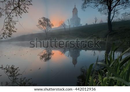 Russian orthodox monastery at the Serpukhov town. - stock photo