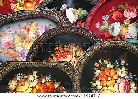 russian painted trays