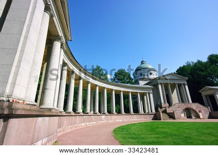 Russian palace with colonnade in Arkhangelskoe
