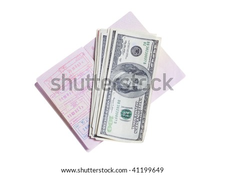 Russian Passport with stamps  and stack of US 100 dollars bills - stock photo