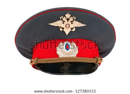 Russian police officer cap isolated on white background - stock photo