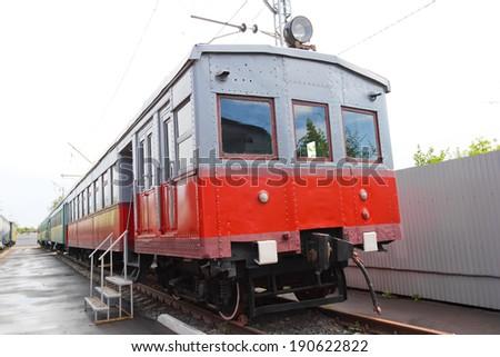 Russian rail road locomotive - stock photo