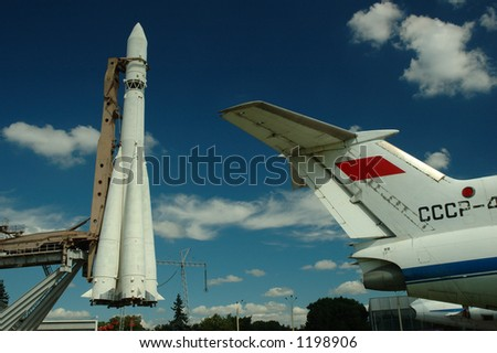 Russian Rocket and Airplane