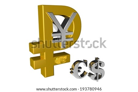 Russian Ruble Chinese Yuan symbol the country and the money new currency financial gold-silver vs euro and dollar - stock photo