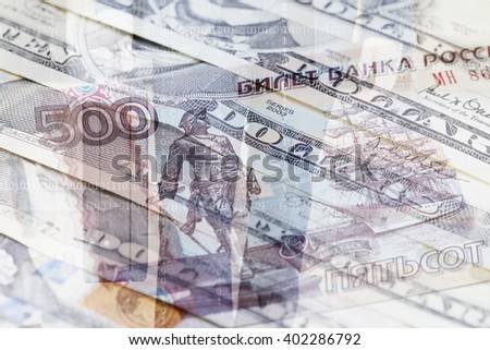 Russian Ruble, US Dollar and businessman with briefcase in background - stock photo