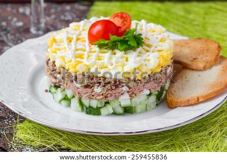 Russian salad with tuna, quinoa, egg, cucumber, stack, holiday appetizer, tasty dish - stock photo