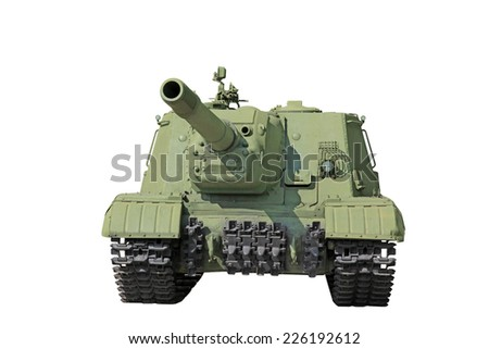 Russian self-propelled artillery gun ISU152 isolated on white background  - stock photo