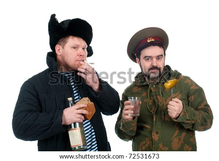 Russian soldier drinking vodka .isolated on white background - stock photo
