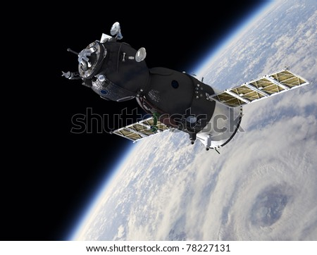 Russian spaceship on the orbit - stock photo