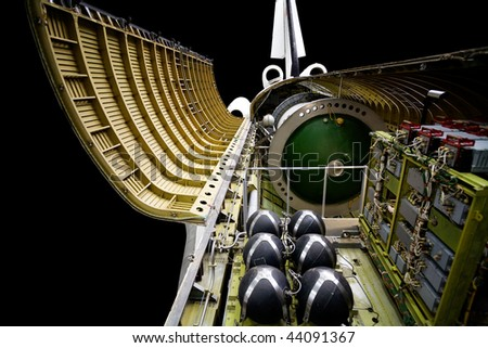 Russian spaceship with open main section over black - stock photo