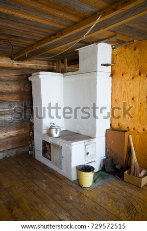 Russian Stove. Interior Of Old Russian Home.