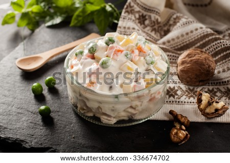 Russian traditional salad with decoration