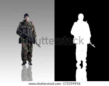 Russian troops. Studio shooting. With alpha channel. frontal pose. going. with reflections. isolated. - stock photo