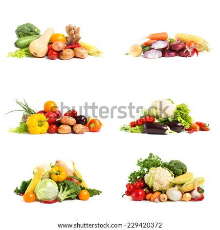 Russian vegetables. Fresh vegetables - collage isolated on a white background - stock photo