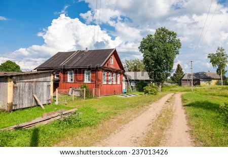 Russian village in sunny summer day