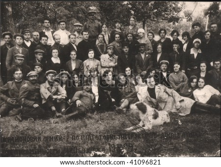 Russian vintage photograph, beginning of XX century. Group of teachers, courses of liquidation of illiteracy - stock photo